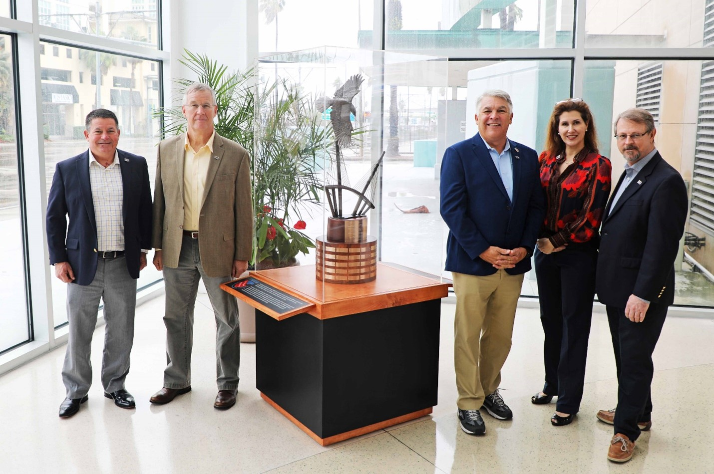 From left to right: Col. Donald J. Barnes (USAFR), Mag. Gen. Lawrence M. Martin, Jr. (USAFR), Paul Anderson, President/CEO Port Tampa Bay, Donna Segal Huneycutt, President and COO at WWC Global, Tim Jones, President TBDA